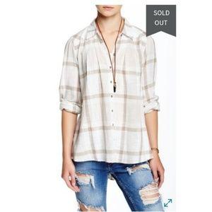 Free People Button Plaid Boho Shirt Top Large